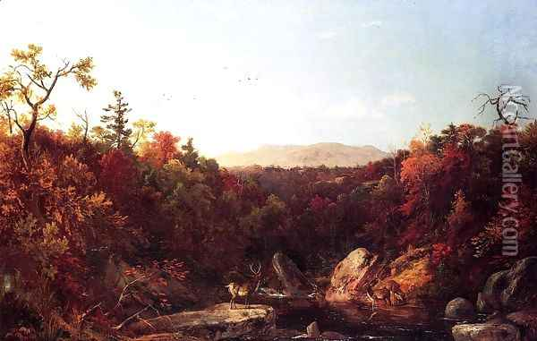 Deer by a Stream Oil Painting - Dewitt Clinton Boutelle