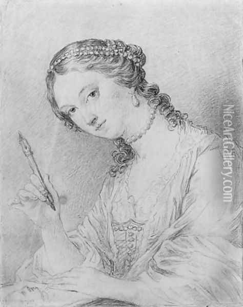 Portrait of Angelica Kauffman drawing the portrait of a man, bust-length Oil Painting - Francesco Bartolozzi