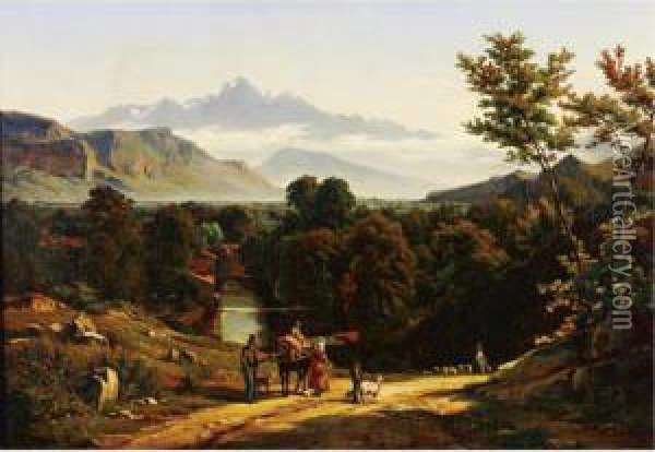 Travelers In A Valley Oil Painting - Johann Jakob Biedermann