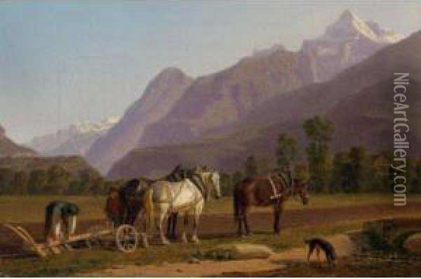 Landscape In The Bernese Oberland Oil Painting - Johann Jakob Biedermann