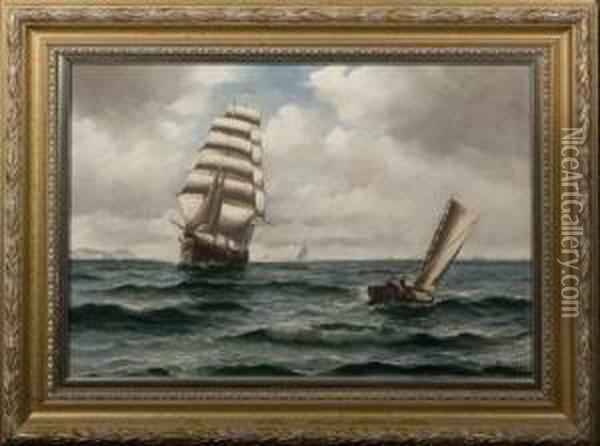 Bille, Danish Tall Ship Off Th Oil Painting - Vilhelm Bille