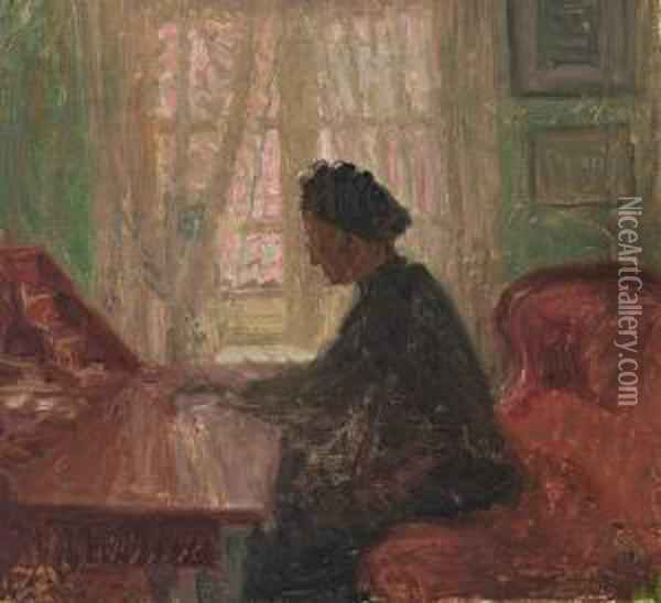 A Woman By The Sekretary, Reading Oil Painting - Jens Birkholm