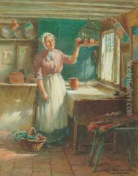 An Interior Scene With A Woman  Washing Clothes; Cottage Interior With A Woman Beside A Window Oil Painting - William Kay Blacklock