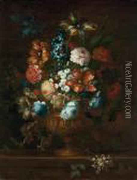 Tulips, Chrysanthemums, Violets  And Other Flowers In A Sculpted Bronze Urn, On A Stone Ledge Oil Painting - Jean Baptiste Belin de Fontenay