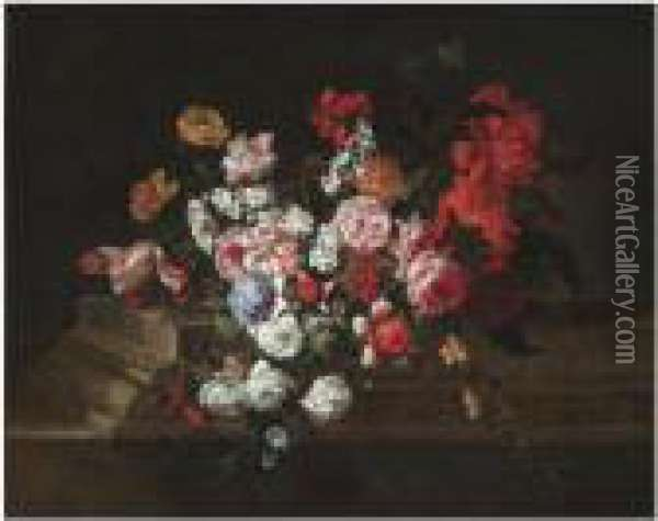 A Still Life With Roses, Tulips,  Peonies, Carnations And Otherflowers On A Sculpted Stone Ledge Oil Painting - Jean Baptiste Belin de Fontenay