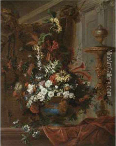 Still Life With A Bouquet Of  Flowers In An Elaborate Brass Urn Standing In A Palatial Interior Oil Painting - Jean Baptiste Belin de Fontenay