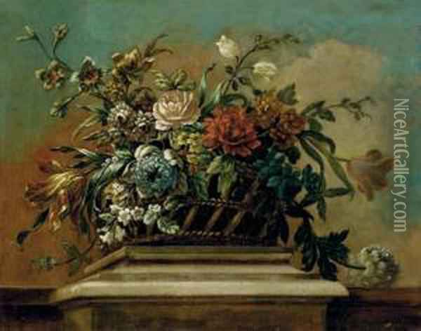 Roses, Tulips And Other Flowers In A Basket On A Ledge Oil Painting - Jean Baptiste Belin de Fontenay