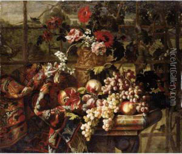 Still Life Of Various Flowers In  A Bronze Urn, Together With Pomegranates, Grapes, Pears And Plums On A  Marble Table Draped With A Carpet Oil Painting - Jean Baptiste Belin de Fontenay
