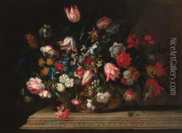 Tulips, Narcissi, Daffodils,  Hyacinths, Carnations, Anemones, Bluebells, Morning Glory And Other  Flowers In A Gilt Urn, On A Carved Ledge Oil Painting - Jean Baptiste Belin de Fontenay