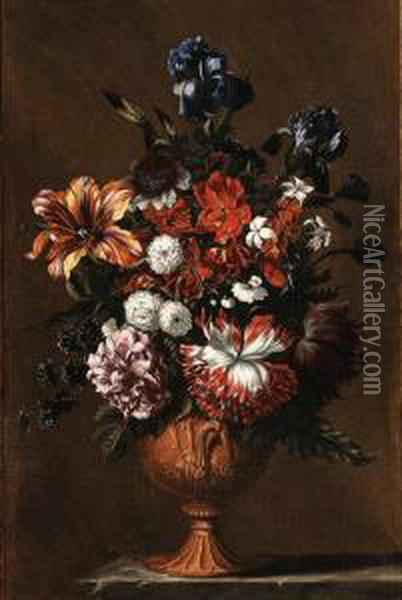 Irises, A Tulip, A Poppy, A  Rose, Jasmine And Other Flowers In Asculpted Urn On A Stone Ledge--in A  Painted Wooden Surround Oil Painting - Jean Baptiste Belin de Fontenay
