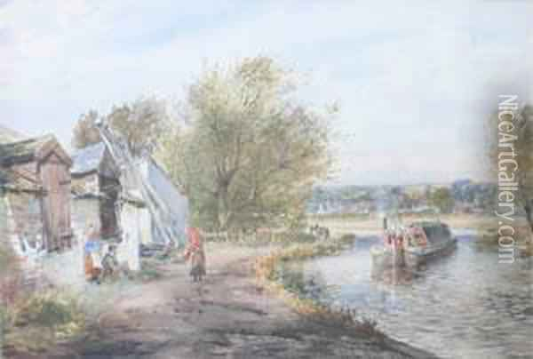 Untitled Scene With Riverboat Oil Painting - John Blair