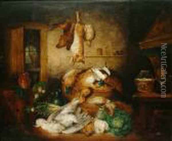 Still Life Of Game, Including Pheasants, Hares, Partridge And Vegetables In A Pantry Oil Painting - Benjamin Blake