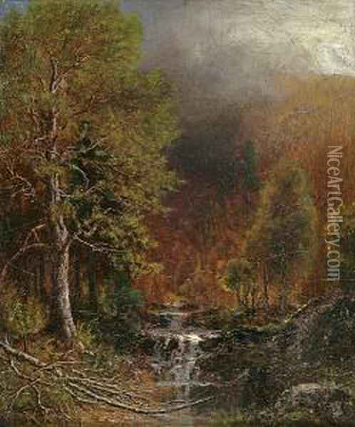 Stream In A Forest Oil Painting - Ralph Albert Blakelock