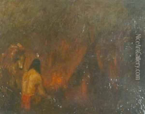 Indian Before Acampfire Oil Painting - Ralph Albert Blakelock