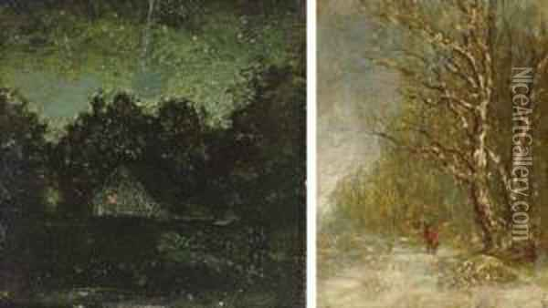 Night; And Winter Forest Scene With Woodcutter: Two Works Oil Painting - Ralph Albert Blakelock