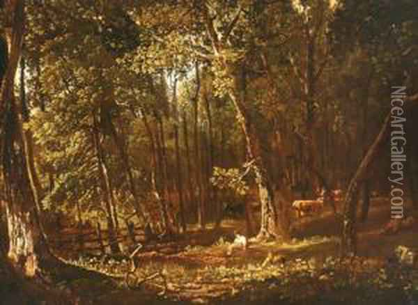 Young Girl Sitting In A Wooded Landscape Oil Painting - Ralph Albert Blakelock