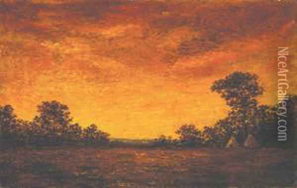 Indian Encampment At Sunset Oil Painting - Ralph Albert Blakelock