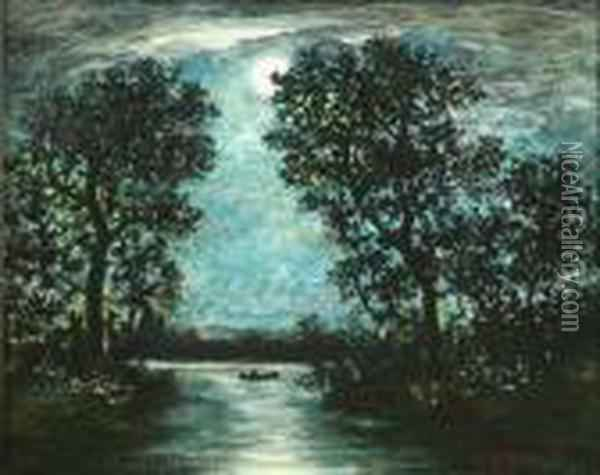 Canoe In Moonlight Oil Painting - Ralph Albert Blakelock