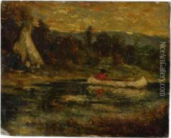 The Canoe, Late Afternoon Oil Painting - Ralph Albert Blakelock