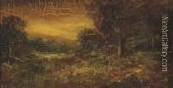 A Wooded Landscape With A Figure On A Path Oil Painting - Ralph Albert Blakelock