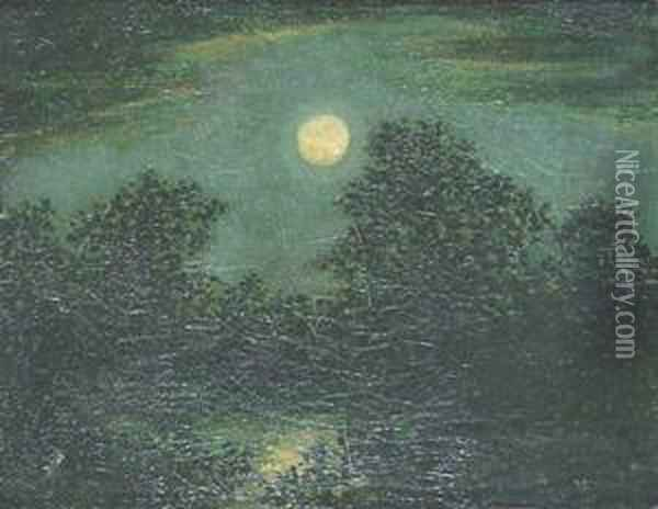 A Full Moon Over The Forest Oil Painting - Ralph Albert Blakelock