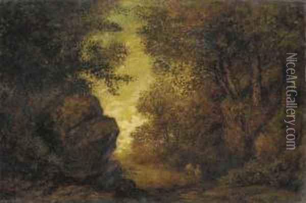 Indian Women By A Stream Oil Painting - Ralph Albert Blakelock