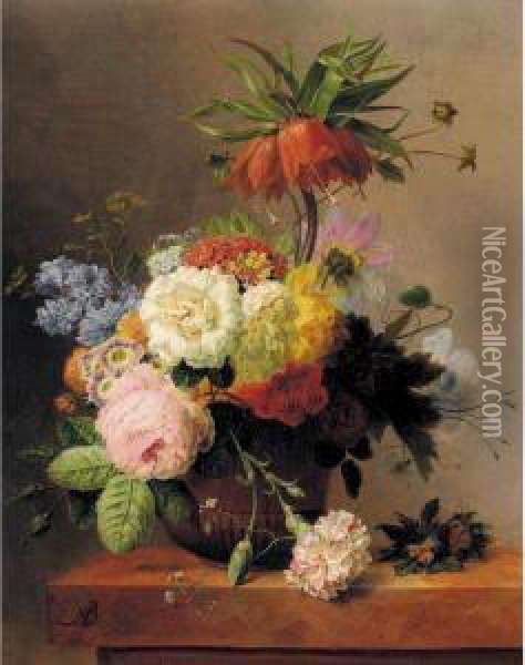 Still-life With Assorted Flowers Oil Painting - Arnoldus Bloemers
