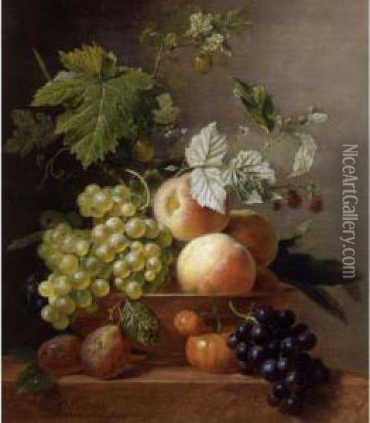 A Still Life Of Grapes And Peaches In A Bowl With Other Fruit, All Resting On A Ledge Oil Painting - Arnoldus Bloemers