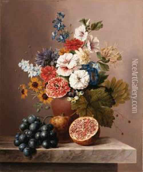 Flowers In A Vase With Grapes And Pomegranates On A Stoneledge Oil Painting - Arnoldus Bloemers