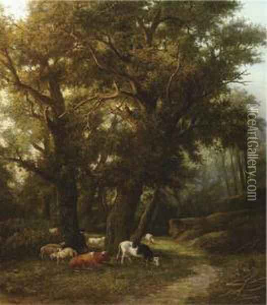 Cattle In A Forest Oil Painting - Willem Bodemann