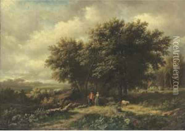 A Promenade In The Country Oil Painting - Willem Bodemann