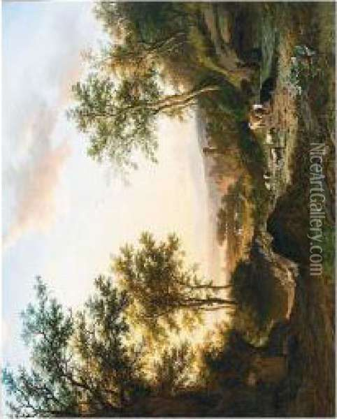 A Panoramic Landscape With Oil Painting - Willem Bodemann