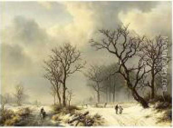 A Winter Landscape With Figures On A Snowy Track Oil Painting - Willem Bodemann