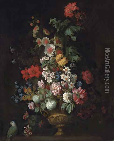 Roses, Lilies, Carnations, Chrysanthemums And Other Flowers In A Bronze Urn On A Ledge Oil Painting - Jakob Bogdani Eperjes C