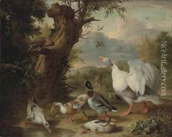 Bogdani A Goose, Ducks And A  Raptor By A Pond In A Wooded Landscape, A Farmyard And A Church Beyond Oil Painting - Jakob Bogdani Eperjes C