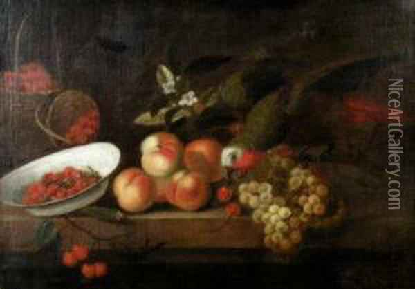 A Parrot Stealing Fruit From A Table Top Oil Painting - Jakob Bogdani Eperjes C