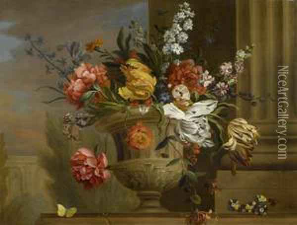 Bouquet Of Flowers With Architectural Setting Oil Painting - Jakob Bogdani Eperjes C