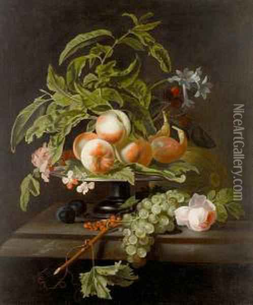 Figs And Peaches On A Pewter  Tray, With Redcurrants, Grapes And A Rose On The Marble Ledge Beneath Oil Painting - Jakob Bogdani Eperjes C