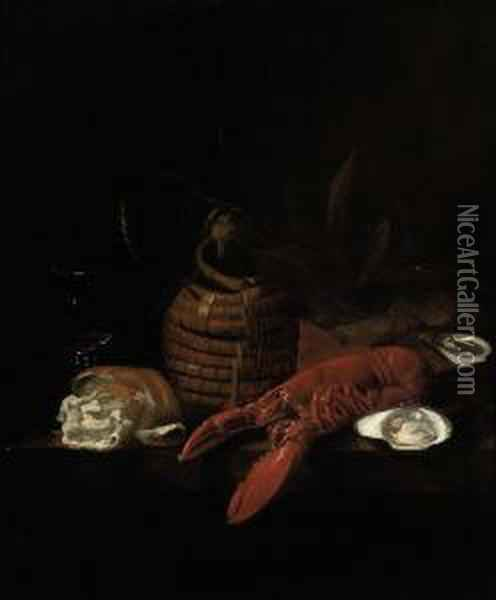 A Lobster, Oysters, A Bread Roll, A Wine Glass And A Glass Jug On Aledge Oil Painting - Jakob Bogdani Eperjes C