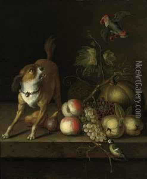 A Dog, A Blue Tit And A Parakeet With Grapes, Peaches, Pears Andpumkins On A Ledge Oil Painting - Jakob Bogdani Eperjes C
