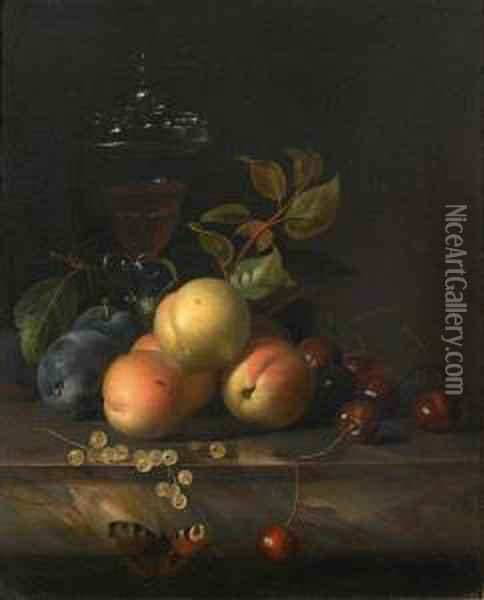 Cherries, Plums And Peaches With A Oil Painting - Jakob Bogdani Eperjes C
