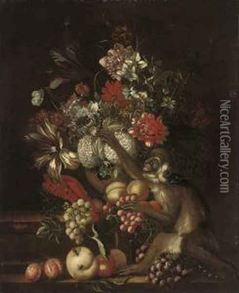 Grapes, Peaches, And Plums On  Stone Steps With A Monkey, And Chrysanthemums, Narcissi, Snowball  Hydrangeas, Parrot Tulips And Other Flowers In An Urn Oil Painting - Jakob Bogdani Eperjes C