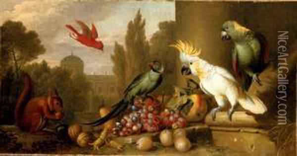A Cardinal, A Plum-headed  Parakeet, A Lesser Sulphur-crested Cockatoo, A Yellow-naped Amazon, And A  Squirrel With Grapes, Apples, Plums And Walnuts In A Ruin, A City  Beyond Oil Painting - Jakob Bogdani Eperjes C