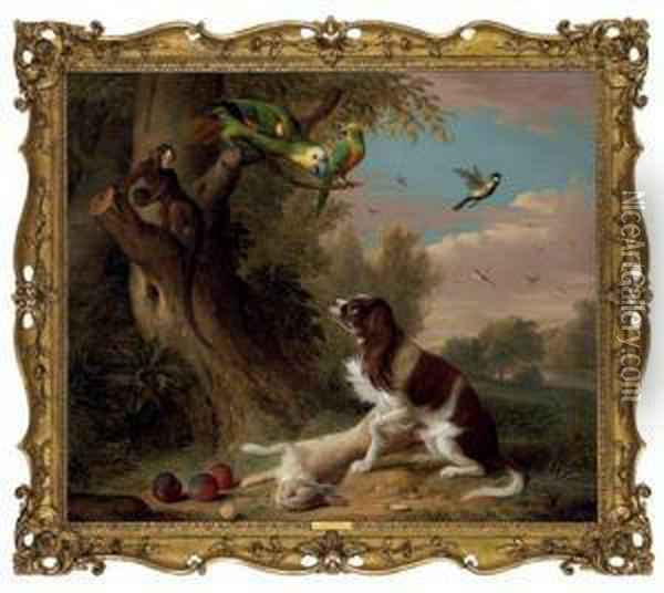 A Spaniel With A Dead Hare In A Landscape, With Parrots And A Monkey In A Tree Oil Painting - Jakob Bogdani Eperjes C