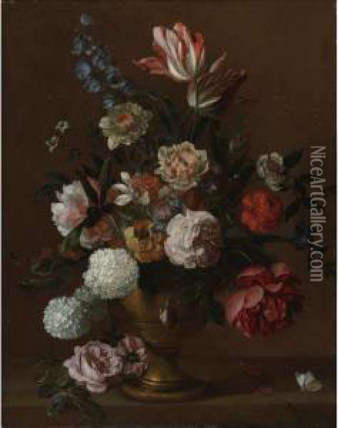 Still Life Of Flowers In A Vase Oil Painting - Jakob Bogdani Eperjes C