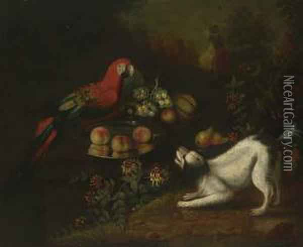 Peaches And Melon On Silver Chargers With A Spaniel Barking At A Parrot, In A Landscape Oil Painting - Jakob Bogdani Eperjes C