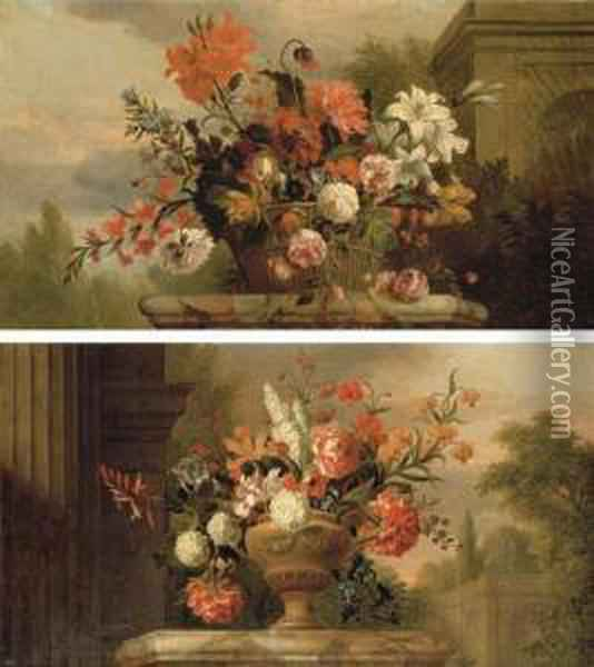 Lilies, Roses, Morning Glory And  Other Flowers In A Basket On Amarble Plinth, By A Fountain In A Garden;  And Peonies Oil Painting - Jakob Bogdani Eperjes C