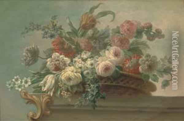 Summer Flowers, Including  Tulips, Poppies And Peonies, In A Wickerbasket, On A Stone Ledge Oil Painting - Jakob Bogdani Eperjes C
