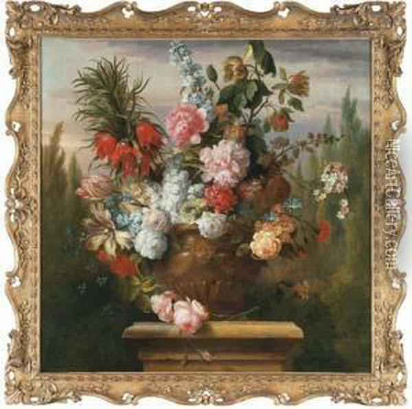 A Crown Imperial Lily, Tulips,  Peonies, Roses, Morning Glory Andother Flowers In An Sculpted Urn On A  Plinth In A Garden Oil Painting - Jakob Bogdani Eperjes C
