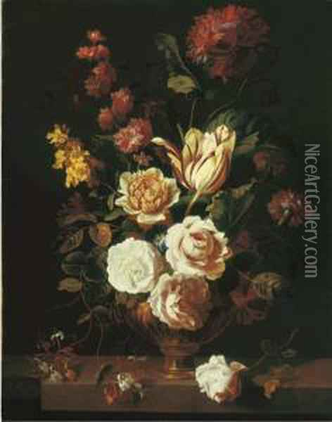 Roses, A Parrot Tulip,  Carnations, Morning Glory, Honeysuckle And Other Flowers In An Urn On A  Stone Ledge Oil Painting - Jakob Bogdani Eperjes C